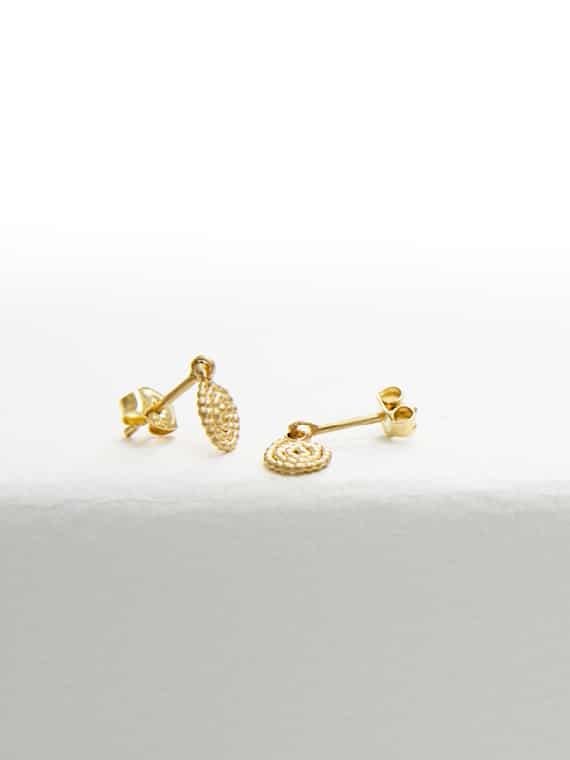 Golden Spiral Earstuds Nolda Vrielink Handmade Jewellery Amsterdam Based