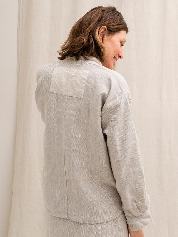 Natural Linen Organic Shirt FANT back grain
