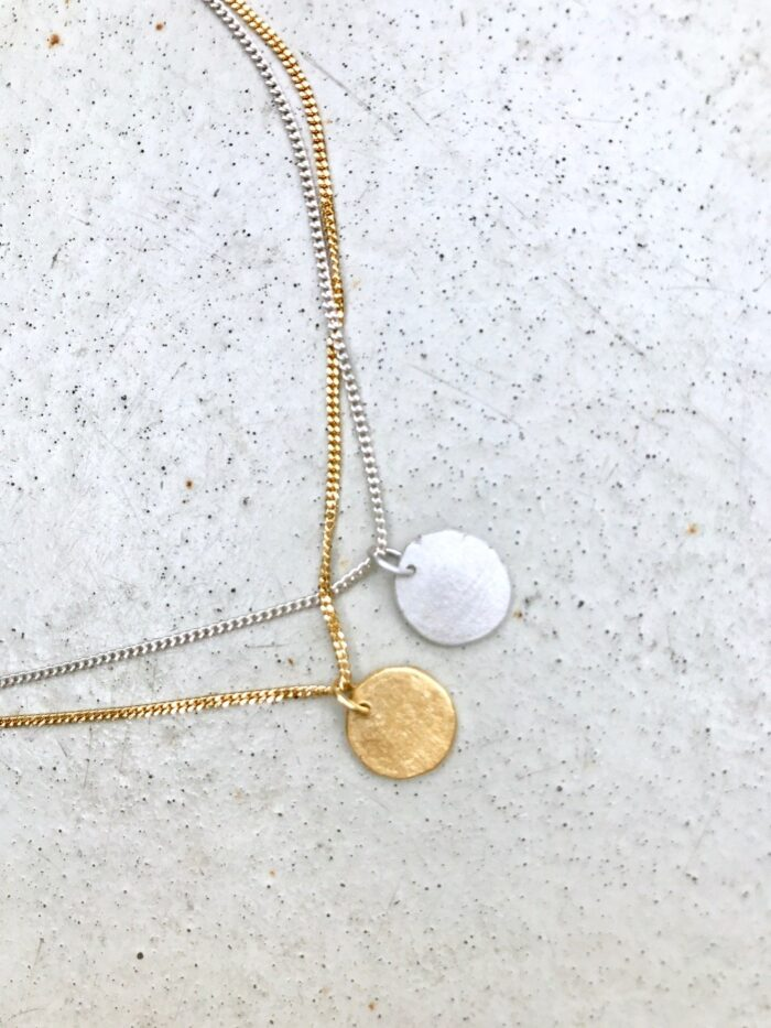 Necklace Moon Recycled Silver Handmade Jewellery Gold Plated