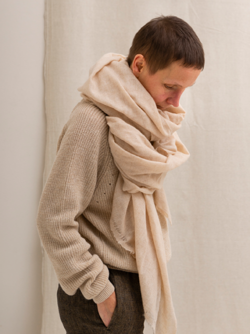 Cashmere scarf handmade sand