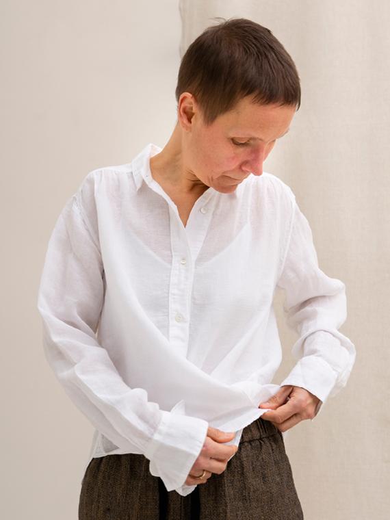 Pomandere shop online Linen shirt white Front