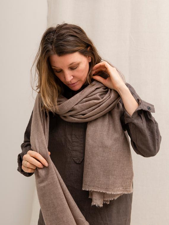 Cashmere scarf mud handmade scarf