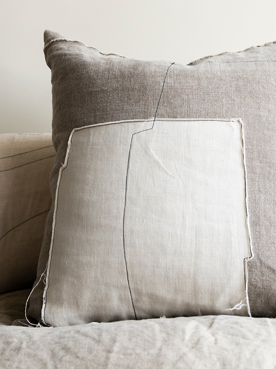 linen cushion white natural linen cushion nomad grey mud detail