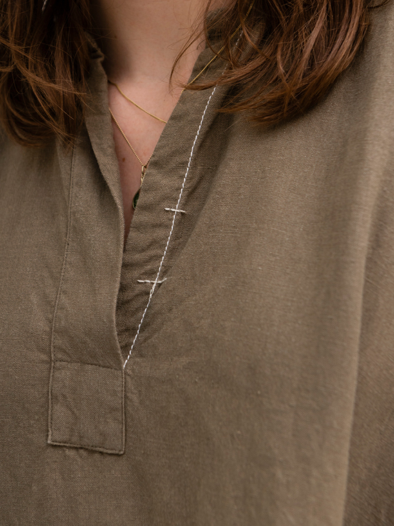 linen dress shop online FANT dress Free detail neck