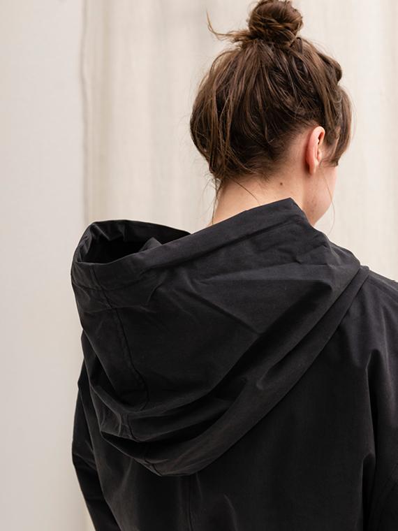 Vegan Coat Organic Coat Embassy of Bricks And Logs Bundaberg Black Detail Hood
