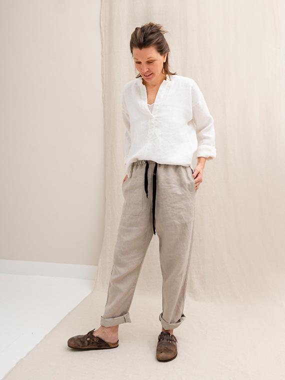 White linen shirt shop online Sukha Fant Front Total