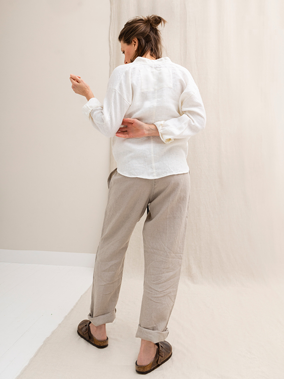 White linen shirt shop online Sukha Fant Back total