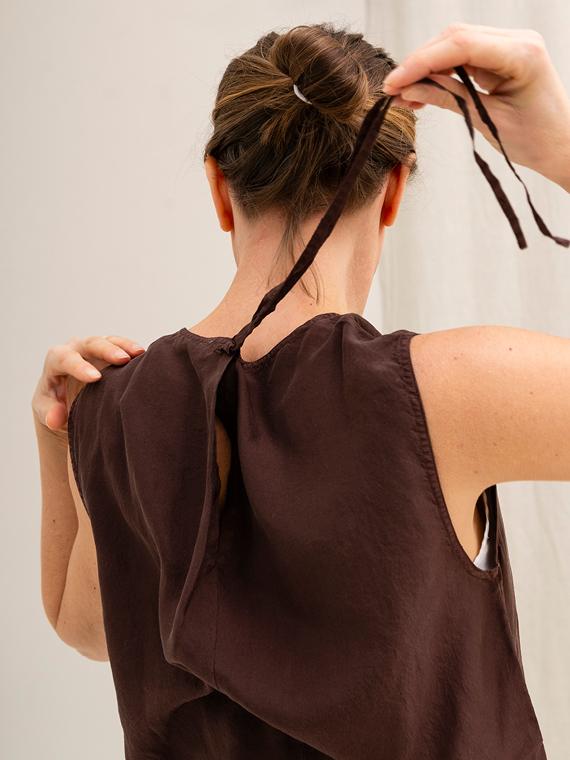 Pomandere shop online silk shirt blouse back detail 2