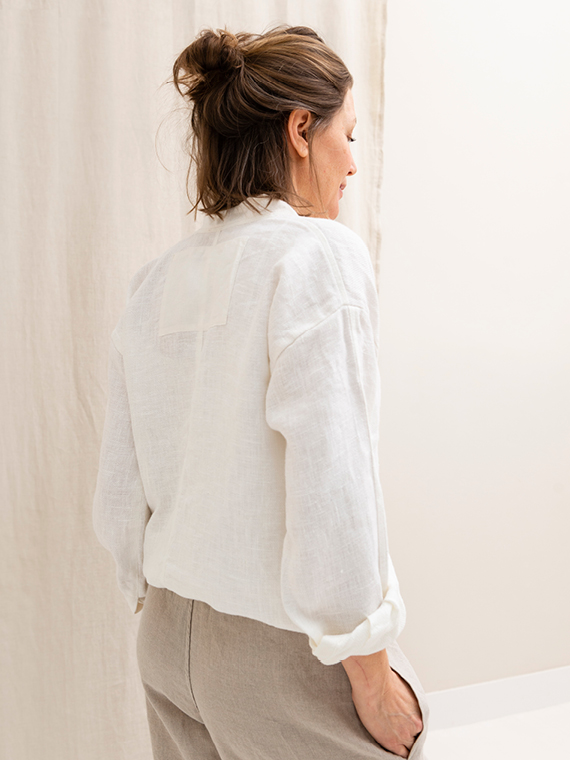 White linen shirt shop online Sukha Fant Back