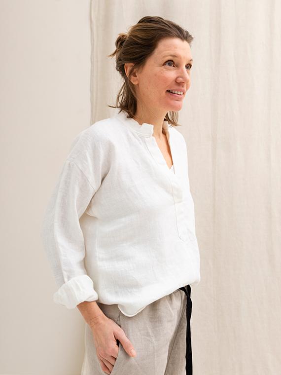 White linen shirt shop online Sukha Fant Front