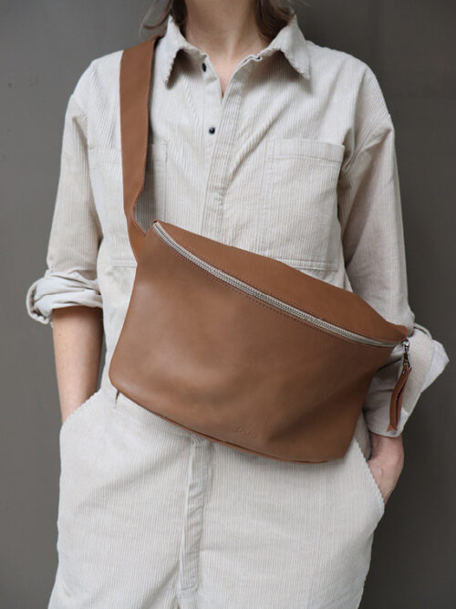 Leather Bag Fanny Pack Mud