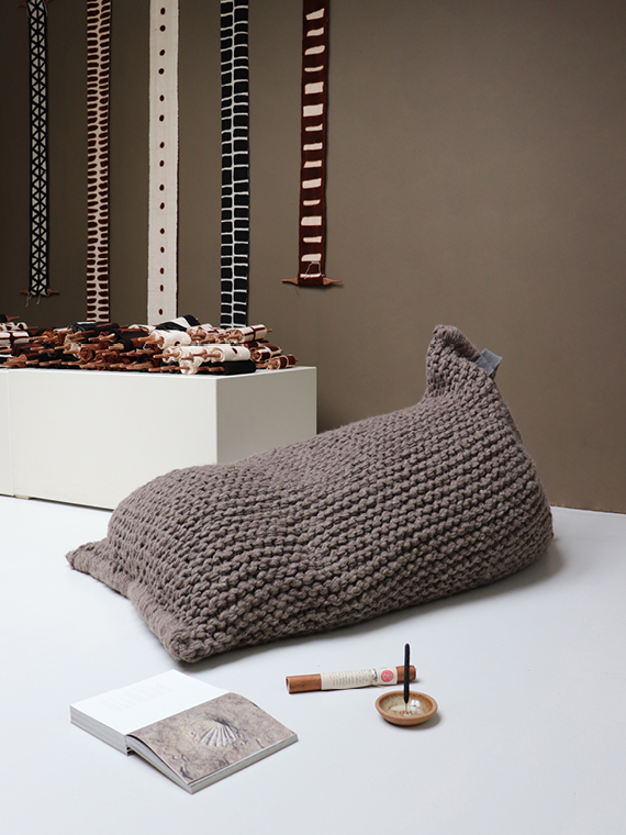 Hand knitted natural furniture zilalila nest brown