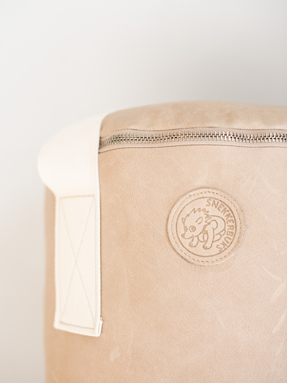 Handmade leather punching bag Boxsack Handmade in Amsterdam taupe