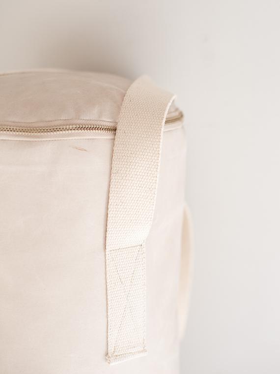 Handmade leather punching bag Boxsack Handmade in Amsterdam off-white