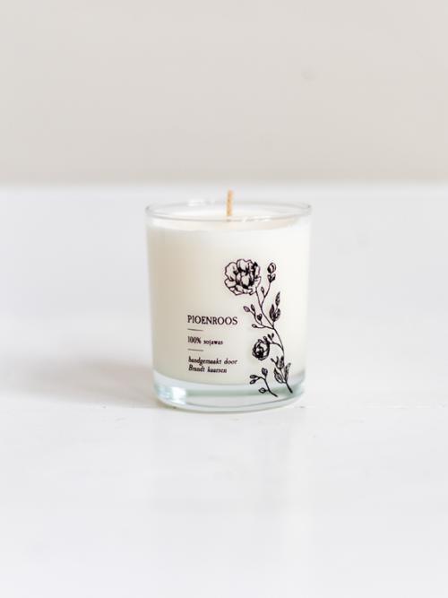 Handmade candle Brandt Soy candle soja kaars pioenroos peony