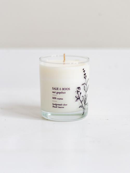 Handmade candle Brandt Soy candle soja kaars salie sage