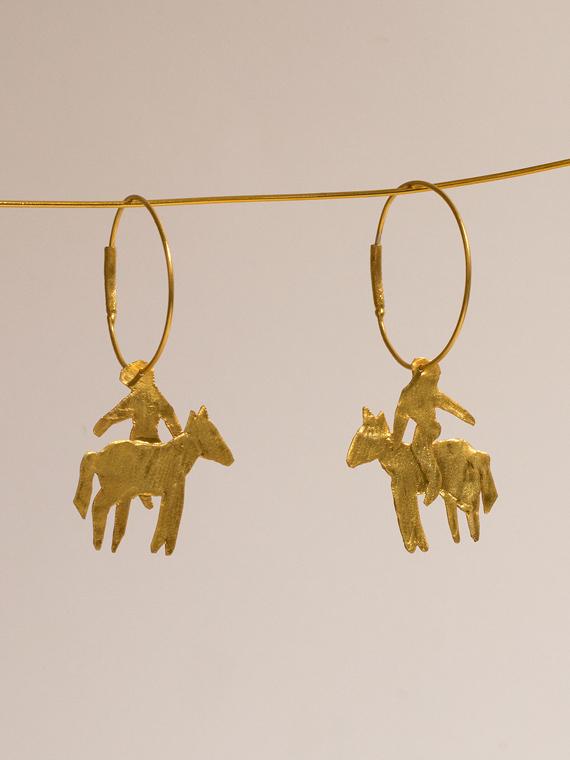 handmade earrings jinete b après ski Porte dorée – À cheval