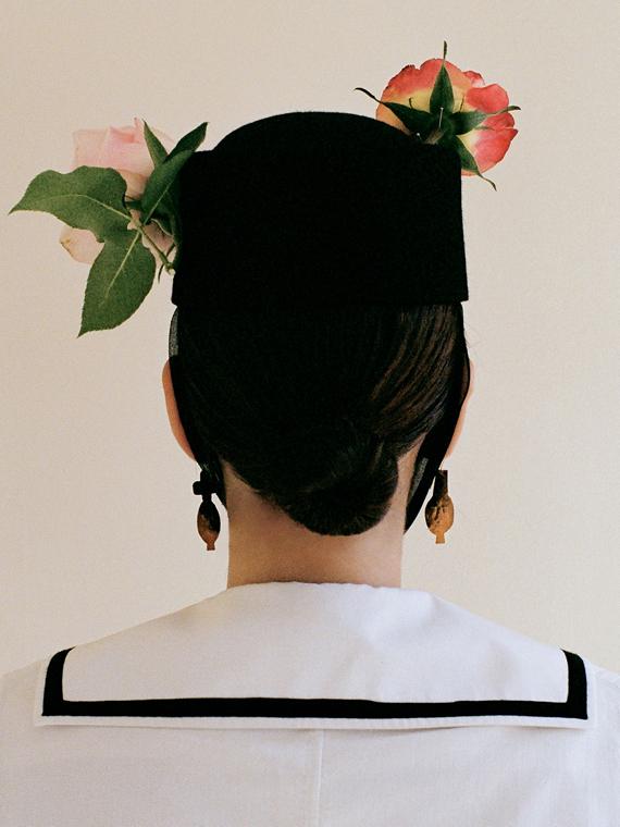 handmade earrings dos earrings après ski Porte dorée packshot model back