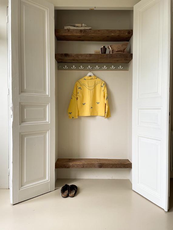 Apres Ski jacket clothing vintage fabric Barcelona Lucia Vergara yellow jacket closet back