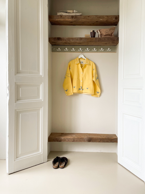 Apres Ski jacket clothing vintage fabric Barcelona Lucia Vergara yellow jacket closet front 2