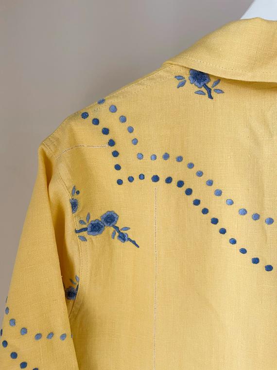 Apres Ski jacket clothing vintage fabric Barcelona Lucia Vergara yellow jacket back detail