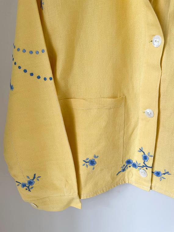 Apres Ski jacket clothing vintage fabric Barcelona Lucia Vergara yellow jacket front detail
