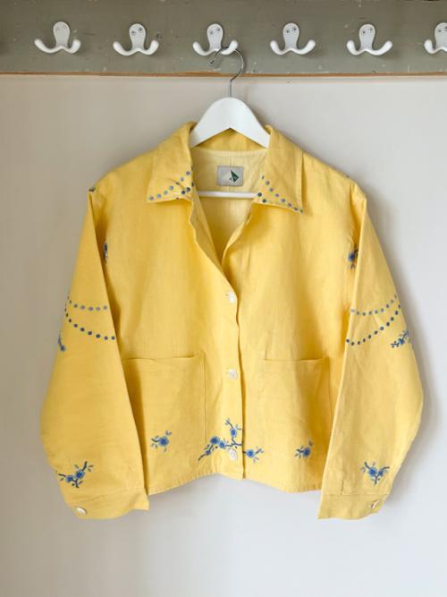 Apres Ski jacket clothing vintage fabric Barcelona Lucia Vergara yellow jacket front