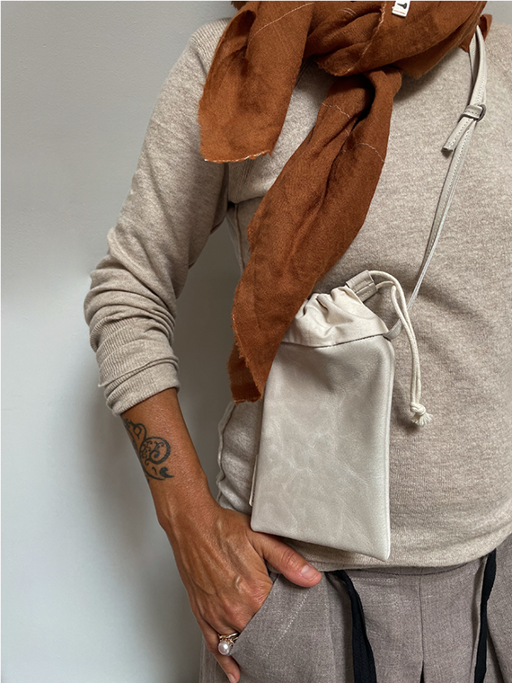 handmade eco leather pouch snekkerbuks off white