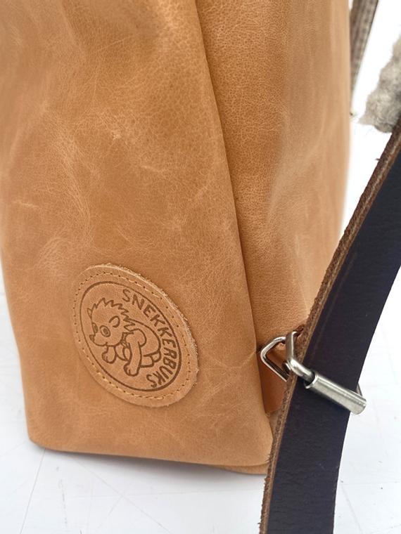 eco leather backpack made in amsterdam snekkerbuks cognac detail buckle