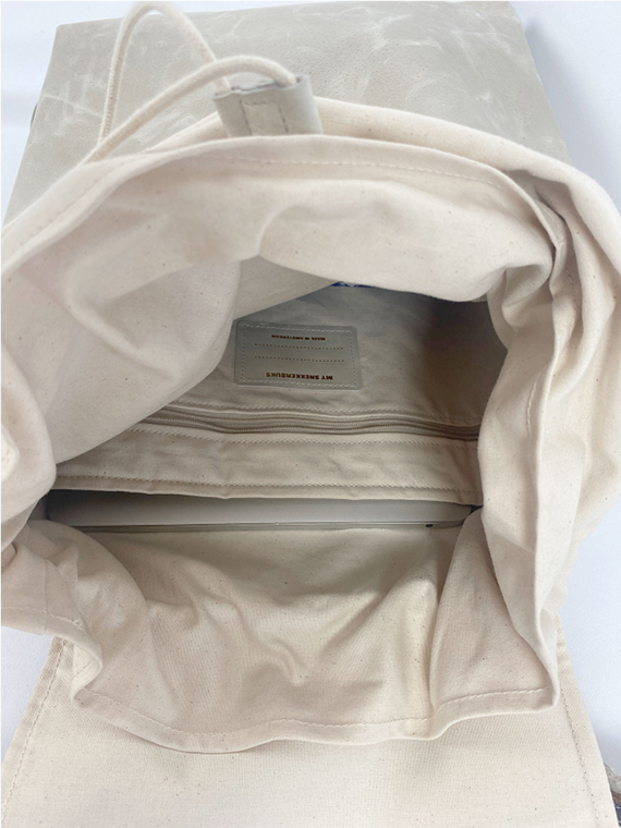 eco leather backpack made in amsterdam snekkerbuks off white detail inside